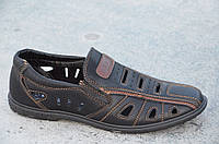 Туфли летние в дырку мужские искусственная кожа черные популярные Украина