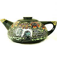 Чайник заварочный керамический большой ручная роспись Хата 1л 9364