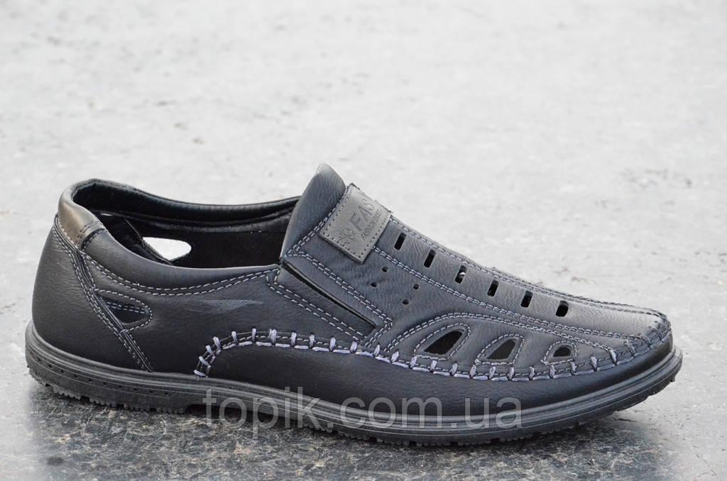 Туфли летние в дырку мужские искусственная кожа черные практичные, популярные (Код: 695а)
