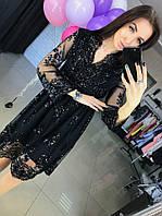 Вечернее платье миди расшитое бисером