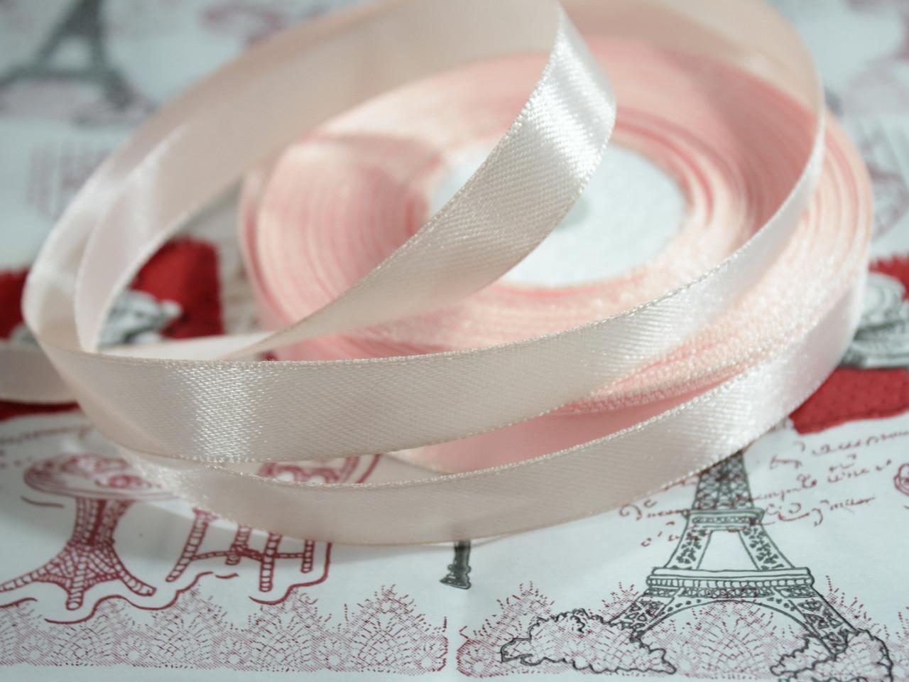 Лента атласная светло- розовая 12,5 мм, моток 33 м.