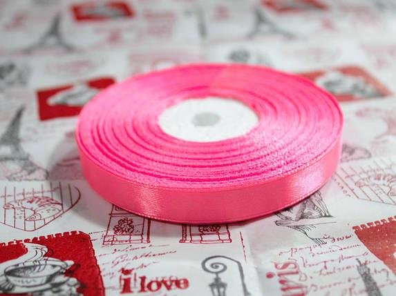 Лента атласная ярко- розовая 12,5 мм, моток 33 м., фото 2