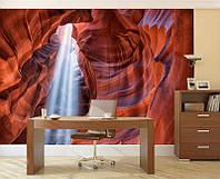 Фотообои Светящиеся Яркие Лучи Солнца в Пещере Природа Пейзаж Декор Стен Дизайн Интерьера Горы Скалы