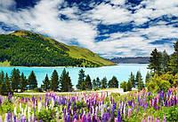 Фотообои Светящиеся Альпийский Пейзаж Природа Декор Стен Дизайн Интерьера Горы Цветы Река