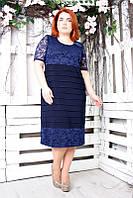 Платье большого размера Гусеница короткий рукав (2 цвета), платье с гипюром для полных