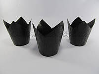 Бумажная формы для маффинов тюльпан черный