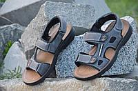 Босоножки, сандали на липучках мужские популярные серые искусственная кожа 2017. Со скидкой