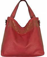 Вместительная женская сумка красного цвета на двух широких ручках