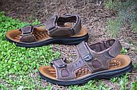 Босоножки, сандали на липучках мужские стильные коричневые искусственная кожа 2017. Со скидкой