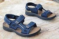 Босоножки, сандали на липучках мужские комфортные темно синие искусственная кожа 2017. Со скидкой