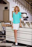 Бирюзовая женская блуза Калипсо Jadone Fashion 42-50 размеры