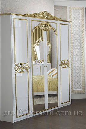 Корона - декоративный элемент для шкафа ЕВА глянец белый/золото от Миро-Марк, фото 2