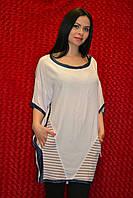 Длинная женская футболка с карманами