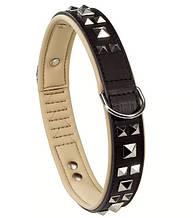 Кожаный ошейник для собак с металлическими аппликациями GIOTTO LUXOR BLACK C 25/49