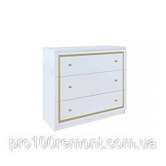 Комод 3 ящика ЕВА глянец белый/золото от Миро-Марк