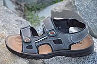 Босоножки, сандали на липучках мужские популярные серые искусственная кожа. Со скидкой
