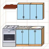 """Кухня """"Оптима"""" длина 1,2 м - вариант №2"""
