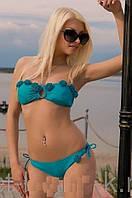 Купальник женский   балконет бирюзового цвета украшенный  змейкой 38 40 44