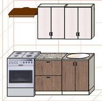 """Кухня """"Оптима"""" длина 1,2 м - вариант №3"""