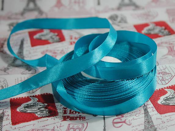 Лента атласная голубая бирюза 12,5 мм, моток 33 м., фото 2
