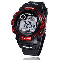 """Мужские спортивные цифровые наручные часы """"Synoke"""" красные"""