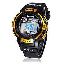 "Мужские спортивные цифровые наручные часы ""Synoke"" желтые"