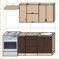 """Кухня """"Оптима"""" длина 1,4 м - вариант №3"""