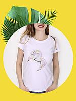 Белая футболка с принтом - 1017-13