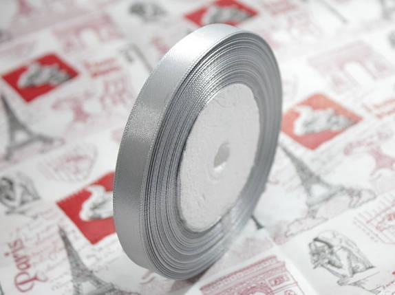 Лента атласная светло- серая 12,5 мм, моток 33 м., фото 2