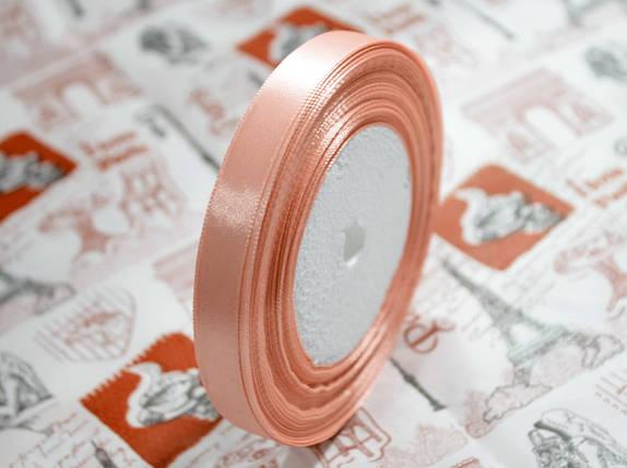 Лента атласная персиковая 12,5 мм, моток 33 м., фото 2