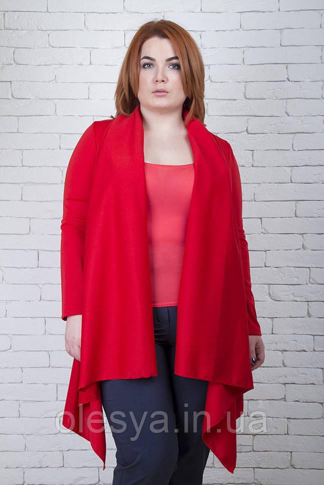 Кардиган женский большого размера Meggi красный, трикотажный кардиган