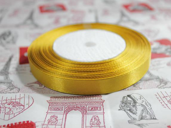 Лента атласная золотистая 12,5 мм, моток 33 м., фото 2