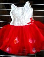 Нарядное платье  с лепестками для девочки на 1-2, 2-3 года