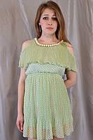 Летнее шифоновое женское платье-туника, украшенное жемчугом