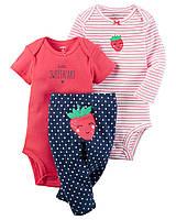 """Комплект Carter's """"Клубничка"""" для девочки 3 в 1: боди с коротким и длинным рукавом, и штанишки (18 мес)"""