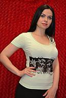 Бирюзовая женская футболка