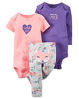"""Комплект Carter's """"Лисичка"""" для девочки 3 в 1: боди с коротким и длинным рукавом, и штанишки (24 мес)"""