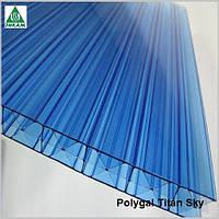 Сотовый поликарбонат Полигаль Титан Скай 16мм голубой