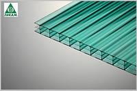 Сотовый поликарбонат Полигаль Титан Скай 16мм зеленый