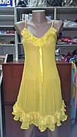 Пенюар жолтый ажурный на бретелях с трусиками танго 3310, фото 1