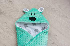 """Конверт-одеяло """"Мишка"""" бирюза"""