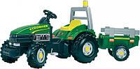 Трактор педальный с прицепом Stronger Verd TGM -  Smoby - Франция - оснащен одним удобным сиденьем для ребенка