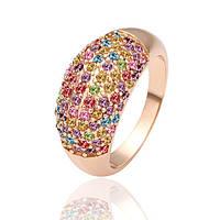 Кольцо россыпь цветных фианитов покрытие 18К золото проба