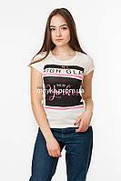 Женская футболка с принтом High glam цвет молочный p.44-46 Missi 3003 SS36-1