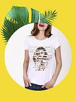Белая футболка с принтом - 1017-9