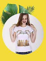 Белая футболка с принтом - 1017-12