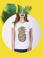 Белая футболка с принтом - 1017-11