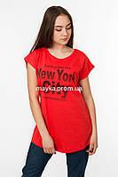 Женская футболка с принтом New York цвет красный p.48-50 Senrise SS39-1