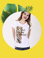 Белая футболка с принтом - 1017-8