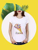 Белая футболка с принтом - 1017-6